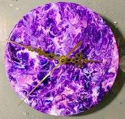 Horloge bois peinture acrylique pouring 17cm diamètre.