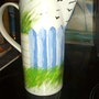 Pichet pour eau peinture sur céramique. Florence Féraud-Aiglin