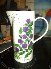 Pichet à eau peinture céramique. Florence Féraud-Aiglin
