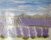 Dessous de plat tableau peinture sur céramique. Florence Féraud-Aiglin