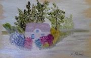 Dessous de plat tableau peinture sur céramique.