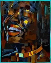 Happy - Mix-media on panel - 80x65 cm- Gouache/inks-black man portrait.