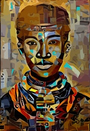 Prince - Mix-media on panel - 80x55 cm- Gouache/inks-black man portrait.