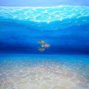Blue Sea Angels Ride Again is a 40x40x1.5 inches large blue seascape painting wi. Gill Bustamante - Artist