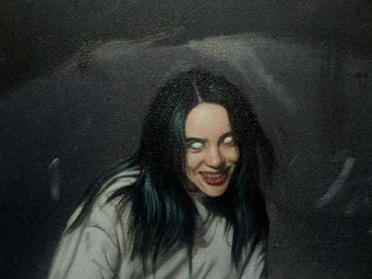 Billie Eilish oil painting on canvas. Amador Y Enoc Enoc