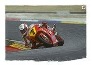 Dessin caricature du pilote moto Barry Sheene.