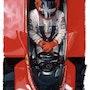 Dessin Gilles Villeneuve pilote de Formule 1. P Fort