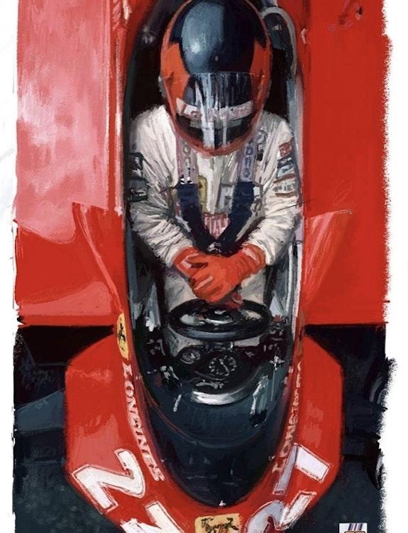 Dessin Gilles Villeneuve pilote de Formule 1. P. Fort P Fort