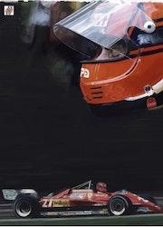 Dessin Gilles Villeneuve pilote de Formule 1.