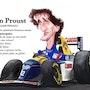 Dessin caricature Alain Prost. P Fort