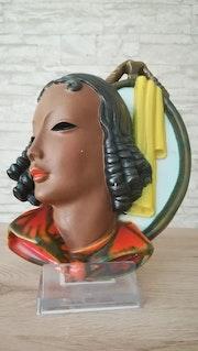 Wandmaske, Friedrich Goldscheider, Wien, 2. Hälfte 30iger Jahre.. Glaskunstgalerie Raphael