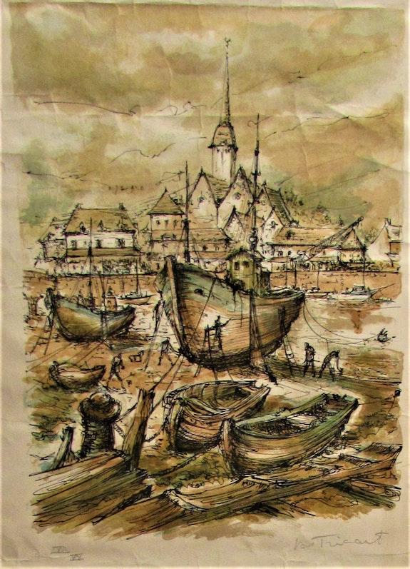 Daniel Tricart (° 1926 -) : Carénage dans le port de Honfleur.. Daniel Tricart (° 1926 -) : Carénage Dans Le Port De Honfleur. Historien d'art, Archéologue; Chercheur Free-L.