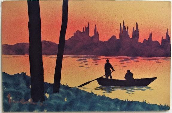 Marcel. J. Gaillard, 1886-1947 : Paysage fluvial au crépuscule.. Marcel. J. Gaillard, 1886-1947 : Paysage Fluvial Au Crépuscule. Historien d'art, Archéologue; Chercheur Free-L.