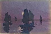 Marcel. J. Gaillard, 1886-1947 : Barques de pêche, au soleil levant.. Historien d'art, Archéologue; Chercheur Free-L.