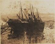 Georges Le Meilleur / Lemeilleur, (1861-1945) : Navires à quai (1910).. Historien d'art, Archéologue; Chercheur Free-L.