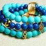 Bracelets composé de jade marin et decalcédoine avec Ornements. Jigée