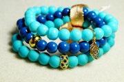Bracelets composé de jade marin et decalcédoine avec Ornements.
