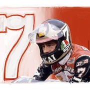 Dessin Barry Sheene pilote de moto. P Fort