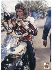 Dessin Barry Sheene pilote moto.