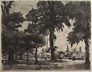 Georges Lemeilleur, (1861-1945) : «Le port de Rouen» (avant guerre) (1908).. Historien d'art, Archéologue; Chercheur Free-L.