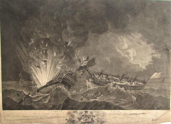 Franç. Dequevauviller, 1745-1807 d'après de Rossel, 1736-1804 : Combat naval. 1791. François Dequevauviller (1745-1807) d'après De Rossel (1736-1804) : Combat Naval Historien d'art, Archéologue; Chercheur Free-L.