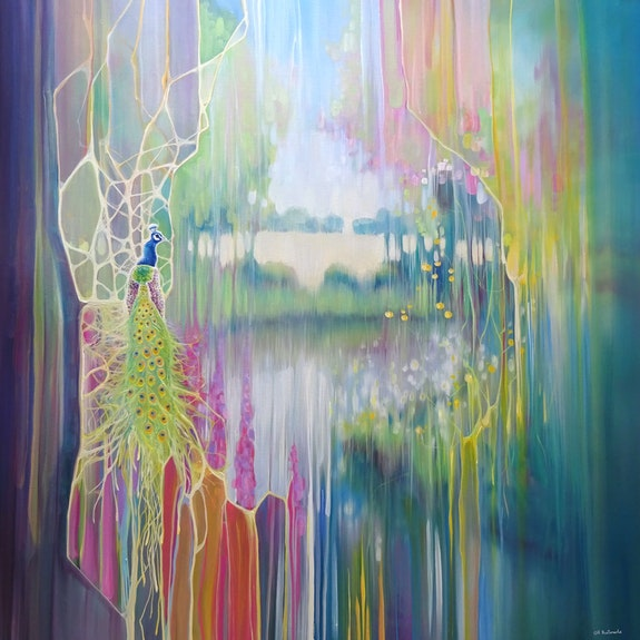 The peacock's garden is a large colourful semi-abstract oil painting of a peacoc.  Gill Bustamante - Artist