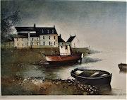 François d'Isarny (°1952), Mouillage dans un aber, possiblement La Rance.. Historien d'art, Archéologue; Chercheur Free-L.