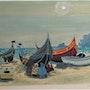 R. Chapelain-Midy, 1904-1992 : Épreuve d'artiste : Bâteaux de pêche sur le sable. Historien d'art, Archéologue; Chercheur Free-L.