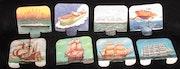 Huit supports publicitaires des «années'60», sur le thème de navires..