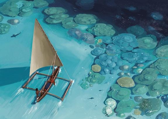 Trimaran sur récif corallien. Antoine Mouton Antoine Mouton