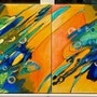 Fluturele si Coconul, abstract acrylic painting. Mariana Oros