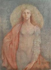 Anonyme (anglais ? Léonor Fini ? ) : Belle figure symboliste.. Historien d'art, Archéologue; Chercheur Free-L.