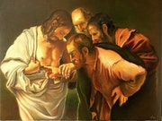 Reproduction The incredulity of Saint Thomas - Caravaggio.