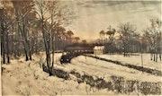René Lorrain (1873-1949) : Train à vapeur dans paysage enneigé..