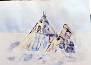 Aquarelle la mongolie. Yokozaza