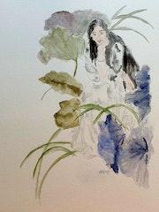 Une femme en fleurs.