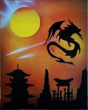 A Sunset on an Asian Temple. Monster Art
