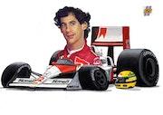 Dessin caricature d Ayrton Senna. P Fort