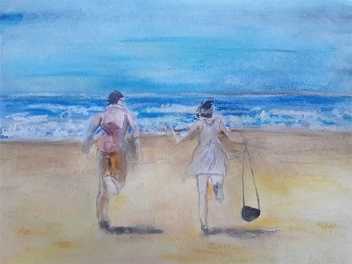 Two on the beach. Hermione Hermione