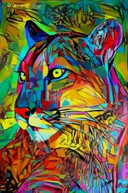 Puma color- 80 X 52 cm- Mix-media on panel - Gouache/inks.