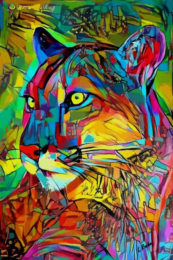 Puma color- 80 X 52 cm- Mix-media on panel - Gouache/inks.  Léa Roche