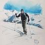 Skieur 1. Forangeart F. Baldinotti Peintre De l'air
