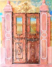 Neoklassizistische Eingangstür aus Kupfer und Acryl. Dimitrios Manos