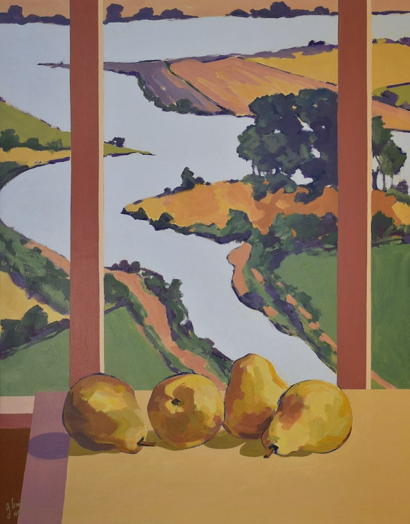 'Pears on the Window Table'. American Expressionist, George Brinner George Brinner