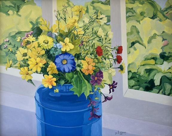 'Flowers and Blue Milk Bucket'. George Brinner