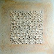 Abstrakt original gemälde 3d relief marmor design 50x50 cm beige. Brigitte Knoop