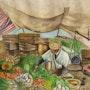 Marchand de légumes au souk hebdomadaire. Oussama Asri