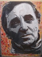 Tableau acrylique Charles Aznavour 80 X 60 cm. Mediki