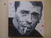 Jacques Brel acrylique sur toile 50 X 50 cm.
