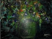 Vase en vert. J. Faure